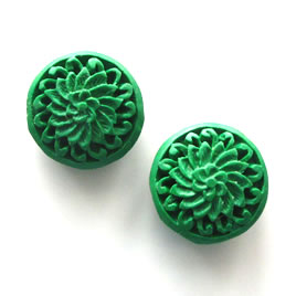 Bead, cinnabar, emerald, 19x9mm, carved. Pkg of 2.
