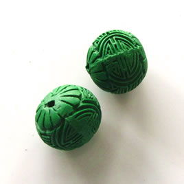 Bead, cinnabar, emerald, 16mm, carved round. Pkg of 4.