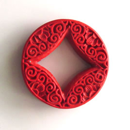 Bead, cinnabar, red, 37x7mm, carved. Sold individually.