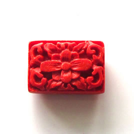 Bead, cinnabar, red, 15x22x8mm, carved. Pkg of 2.