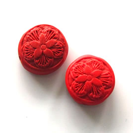 Bead, cinnabar, red, 17x7mm, carved. Pkg of 5.