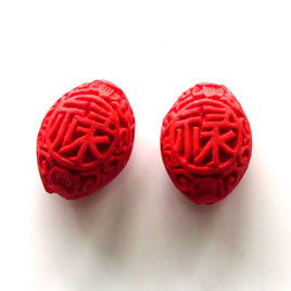 Bead, cinnabar, red, 15x19x11mm, carved. Pkg of 5.