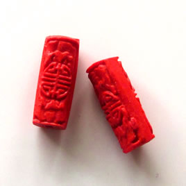 Bead, cinnabar, red, 8x18mm, carved tube. Pkg of 6.
