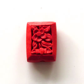 Bead, cinnabar, red, 15x20x7mm, carved. Pkg of 5.