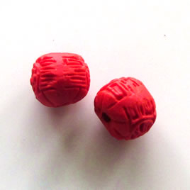 Bead, cinnabar, red, 10mm, carved round. Pkg of 5.