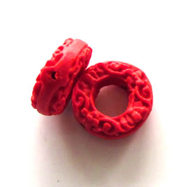 Bead, cinnabar, red, 16x6mm, carved donut. Pkg of 6.