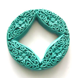 Bead, cinnabar, turquoise, 45x6mm, carved. Sold individually.