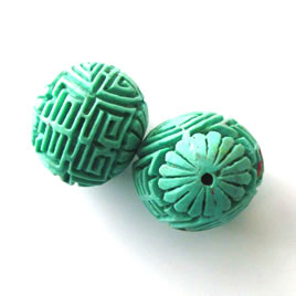 Bead, cinnabar, turquoise, 22mm, carved round. Pkg of 2.