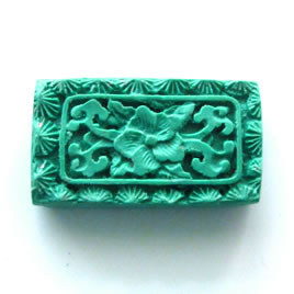 Bead, cinnabar, turquoise, 18x32x7mm, carved. Sold individually.