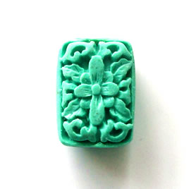 Bead, cinnabar, turquoise, 17x23x8mm, carved rectangle. Pkg of 2