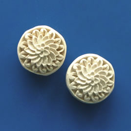 Bead, cinnabar, white, 19x9mm, carved. Pkg of 2.