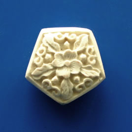 Bead, cinnabar, white, 21x9mm, carved. Pkg of 3.