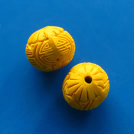 Bead, cinnabar, yellow, 15mm, carved. Pkg of 5.