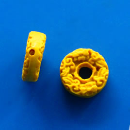 Bead, cinnabar, yellow, 19x6mm, carved. Pkg of 6.