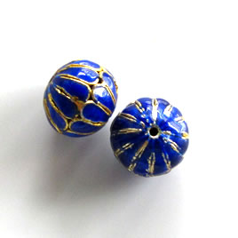Bead, cloisonné, blue, 12x14mm open round. Pkg of 2.