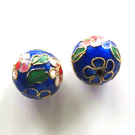 Bead, cloisonné, blue, 20mm round. Sold individually.