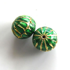 Bead, cloisonné, green, 12x14mm open round. Pkg of 2.