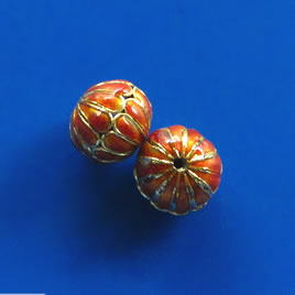 Bead, cloisonné, orange, 12x14mm open round. Pkg of 2.
