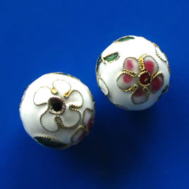 Bead, cloisonné, white, 17mm round. Sold individually.
