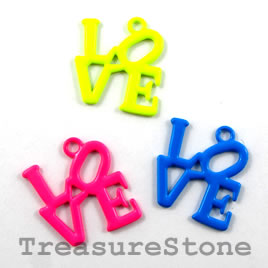 Charm/pendant, mixed color, metal, 18x19mm LOVE. Pkg of 4.