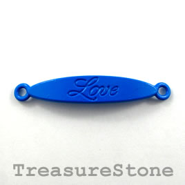 Pendant/connector, blue, metal, 8x40mm Love. Pkg of 4.