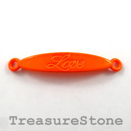 Pendant/connector,brilliant orange, metal, 8x40mm Love. Pkg of 4