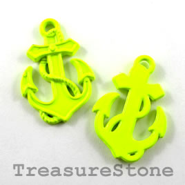 Charm/pendant, neon yellow, metal, 18x23mm anchor. Pkg of 2.