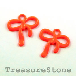 Charm, brilliant orange, metal, 18x19mm bow ribbon. Pkg of 6.