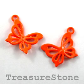 Charm, brilliant orange, metal, 13x18mm butterfly. Pkg of 6.