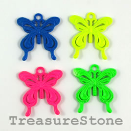 Pendant/charm, mixed color, 24x26mm butterfly. Pkg of 4.