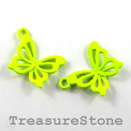 Charm, neon yellow metal, 14x18mm butterfly. Pkg of 6.