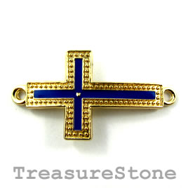 Pendant/connector, gold blue, 23x40mm cross. Pkg of 2.