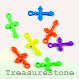 Charm, mixed color, metal, 11x17mm cross. Pkg of 6.
