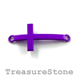 pendant/connector, purple, metal, 16x30mm cross. Pkg of 3