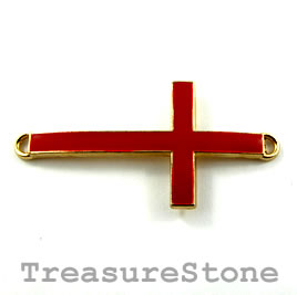 Pendant/connector, gold red, 23x45mm cross. Pkg of 2.