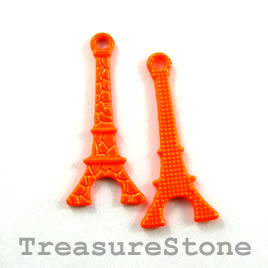 Charm, brilliant orange, metal, 10x20mm eiffel tower. Pkg of 8. - Click Image to Close
