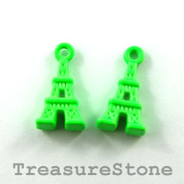 Pendant, green, metal, 8x12mm eiffel tower. Pkg of 8.