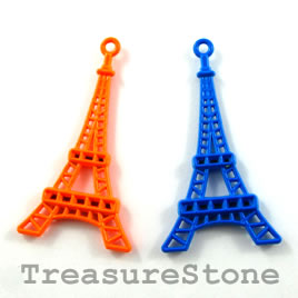 Pendant, mixed color, metal, 24x40mm eiffel tower. Pkg of 2.