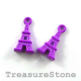 Pendant, purple, metal, 8x12mm eiffel tower. Pkg of 8. - Click Image to Close