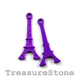 Charm, purple, metal, 10x20mm eiffel tower. Pkg of 8.