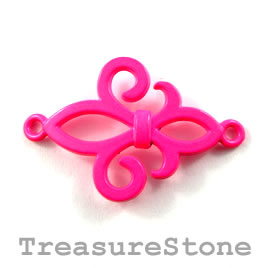 Pendant/ connector, neon pink, 24x30mm. Pkg of 2.