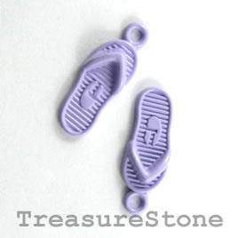 Charm, light violet, metal, 7x18mm flip flop. Pkg of 6.