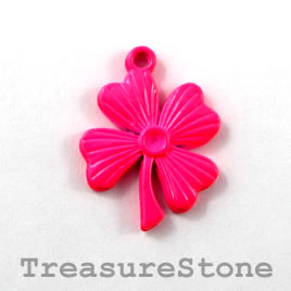 Charm/ pendant, neon pink, metal, 18x20mm flower. Pkg of 4.