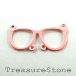 Pendant/connector, light coral, metal, 36x17mm glasses. Pkg of 2