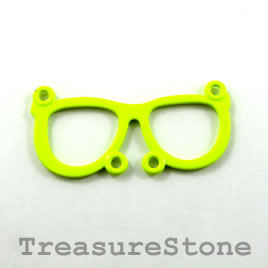Pendant/connector, neon yellow, metal, 36x17mm glasses. Pkg of 2