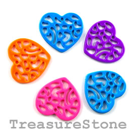Charm, mixed color, metal, 18x19mm heart. Pkg of 5.