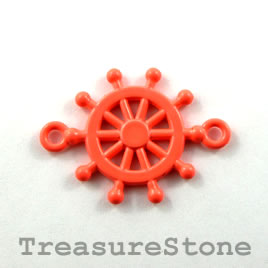 Pendant/ connector, coral, 21mm helm wheel. Pkg of 2.