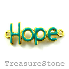 "Pendant/connector, gold green, 15x32mm ""Hope"". Pkg of 2."