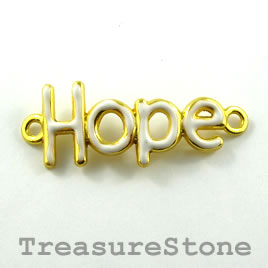 "Pendant/connector, gold white, 15x32mm ""Hope"". Pkg of 2."