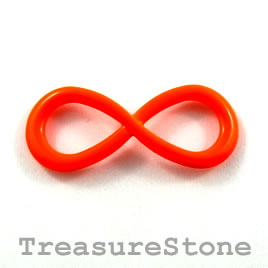 Pendant/connector, brilliant orange, 13x32mm infinity. Pkg of 3.